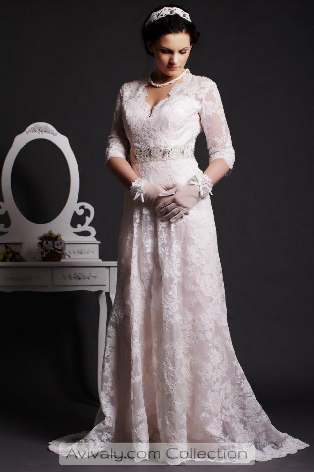 Bela - Lace 3/4 Sleeves A-line Floor-sweeping Wedding Dress with Beaded Sash