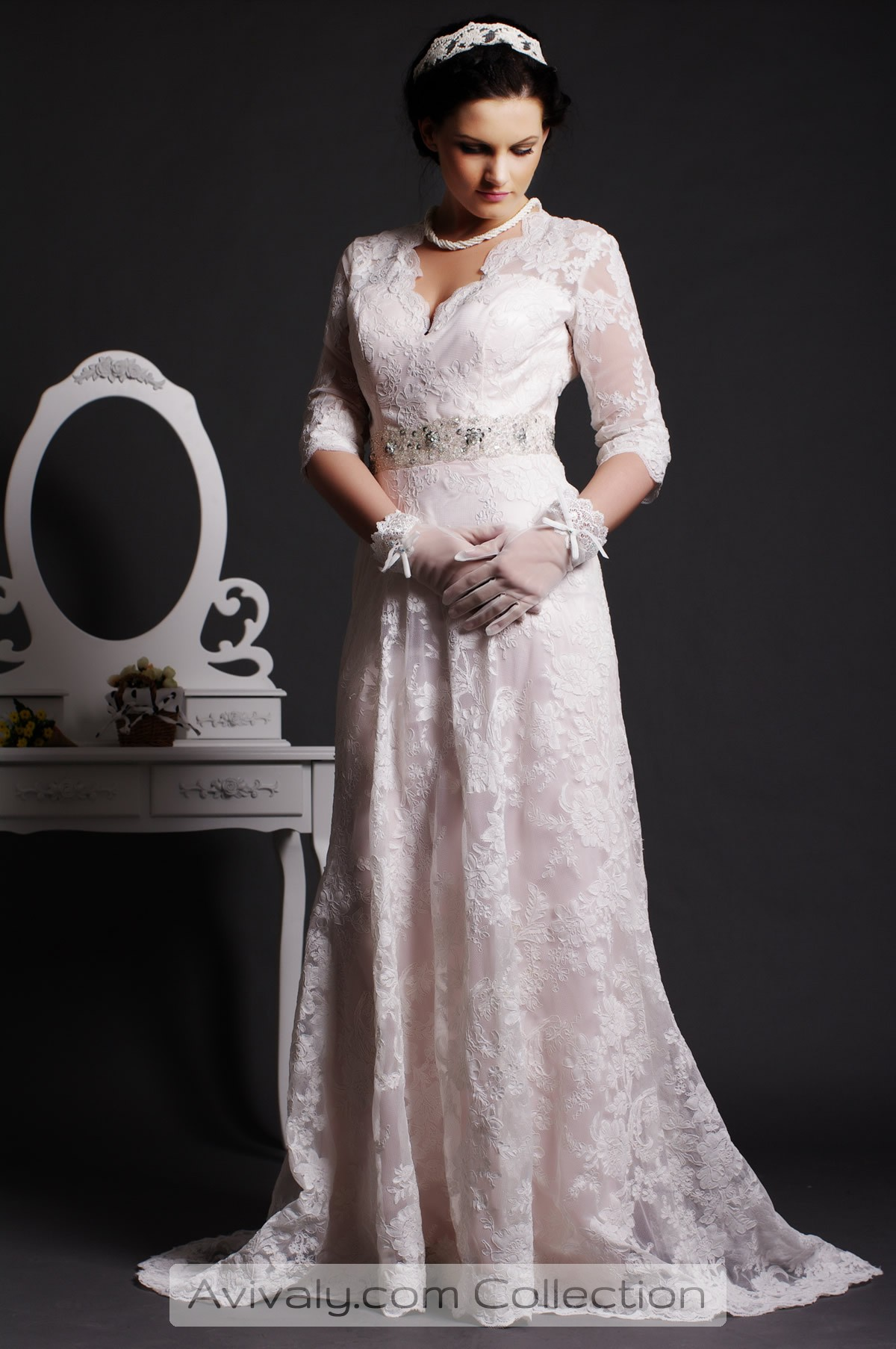 Bela - Lace 3/4 Sleeves A-line Floor-sweeping Wedding Dress with Beaded Sash