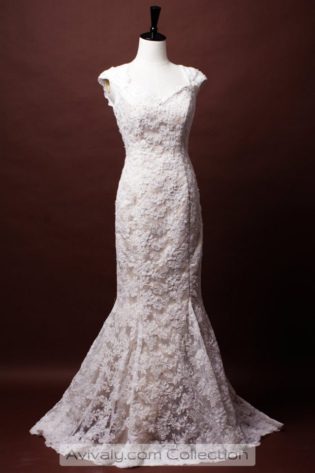 French corded lace wedding dress