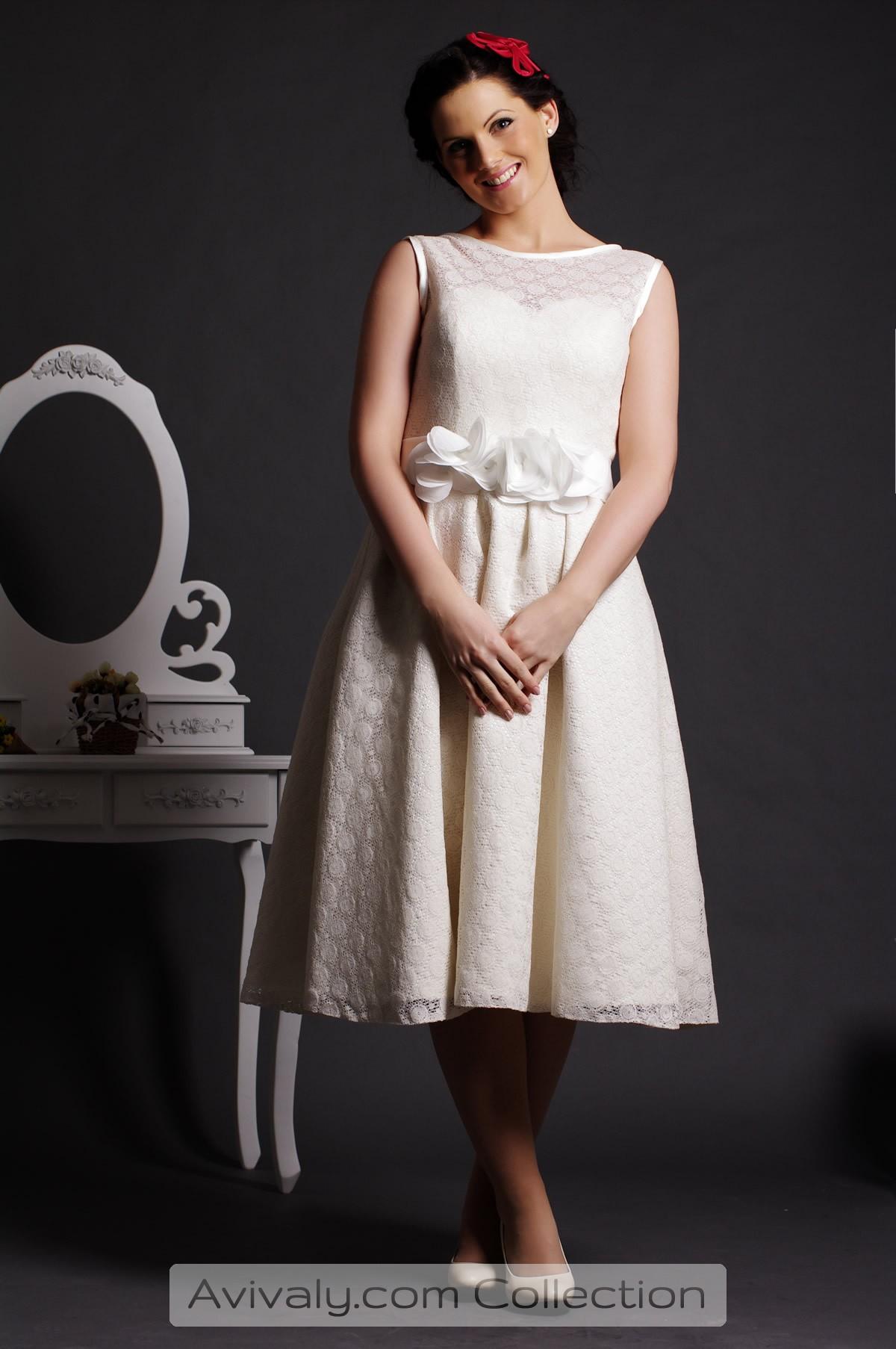 Ivy - Tea Length, Jewel Neckline & Sleeveless