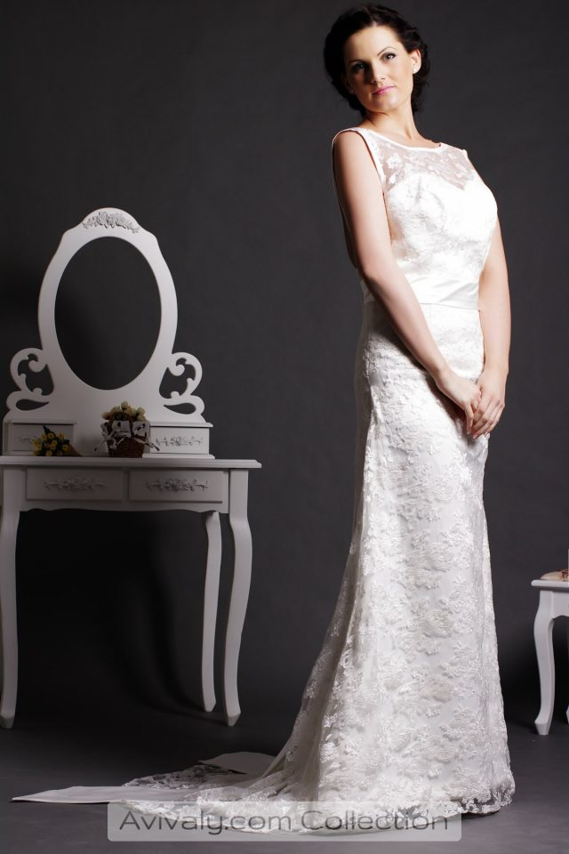 Jade - Floral Lace Satin Gown