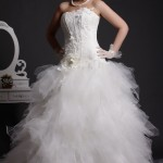 Lacy - Appliqued Corset Bodice Flares to Feathered Tulle Skirt