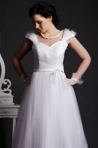 Lapa - Flowers with Pearls at Center on Cap Sleeves, Sash Belt Finished by a Knot