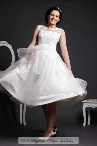 Lola - Lace Bodice, Organza Layered Ball Gown Skirt in Tea Length