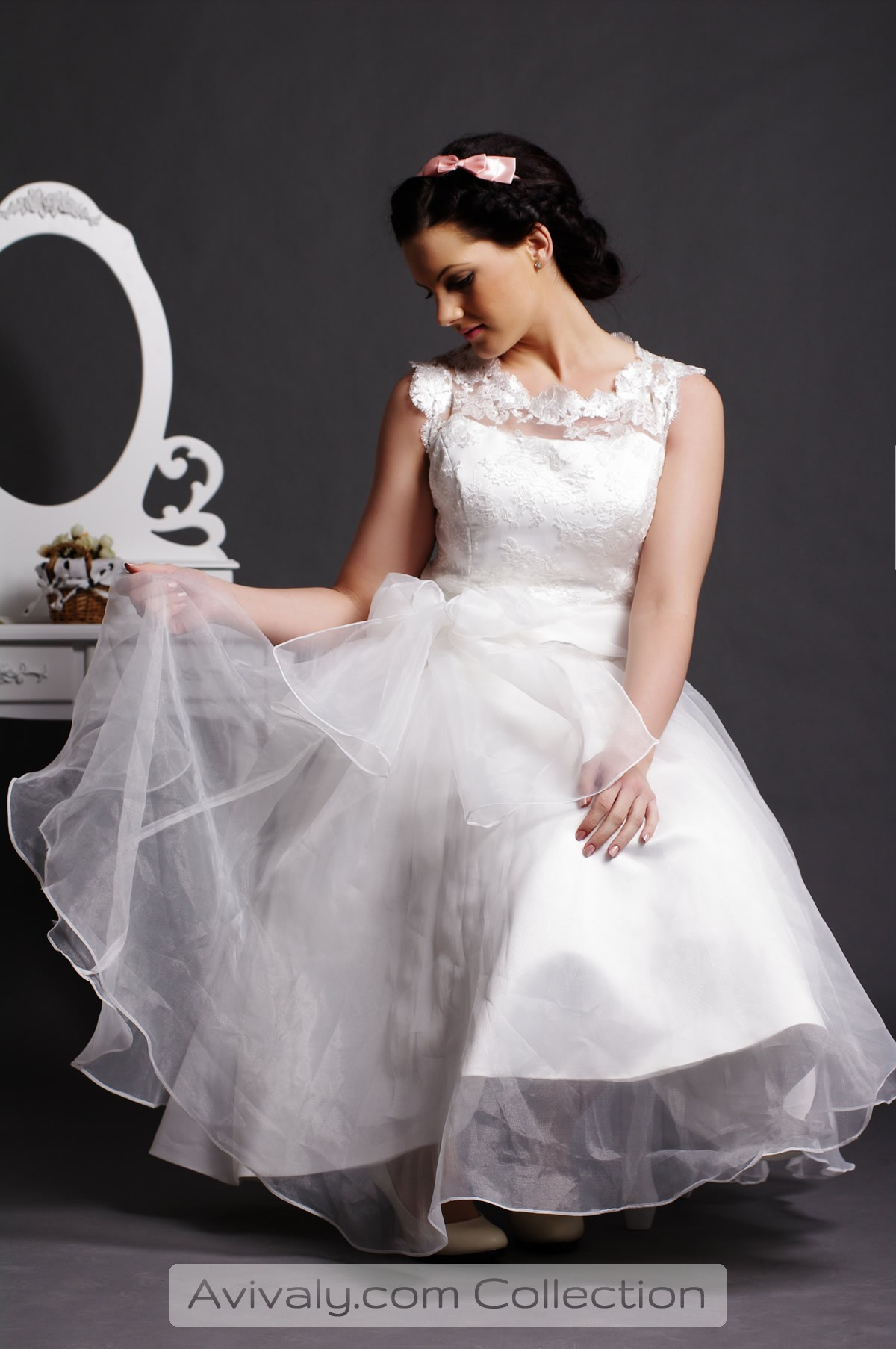 Lola - Organza Sash Belt Melted into Ball Gown Skirt for Fairytale Look