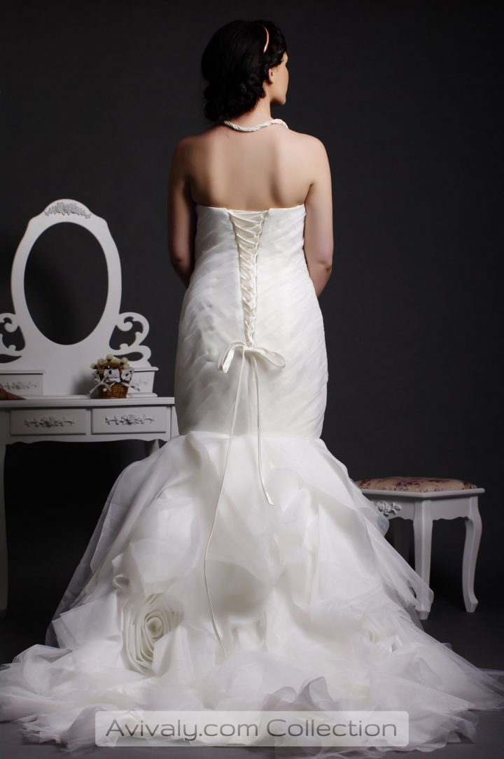 Millyrose - Corset Back, Fitted Hip, Rosettes Skirt in Floor Length with Court Train