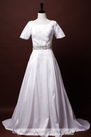 Modest Short Sleeves Taffeta Bridal Dress