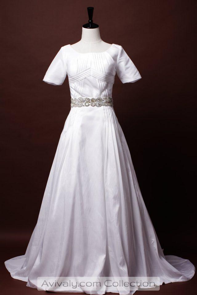 Modest Short Sleeves Taffeta Bridal Dress