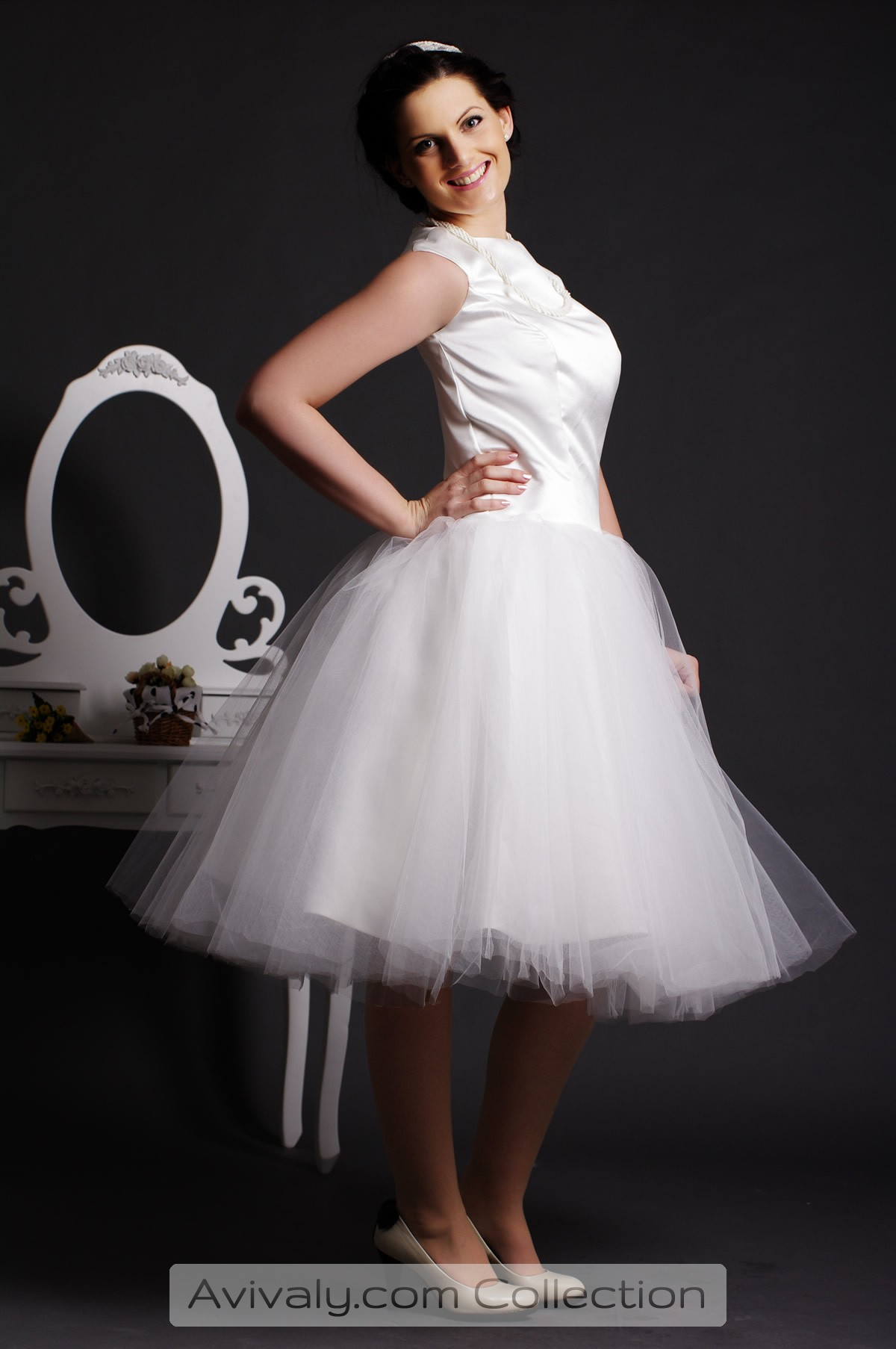 Musica - Layered & Pleated Tulle Ball Gown Skirt in Tea Length