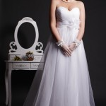 Nicola - Dotted Tulle Wedding Dress with Sweetheart, Empire Waist & Pleated Skirt