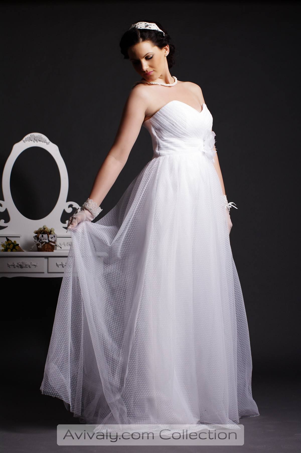 Nicola - Dotted Tulle Shapes the Fairytale Floor Length Dress in A-line Silhouette