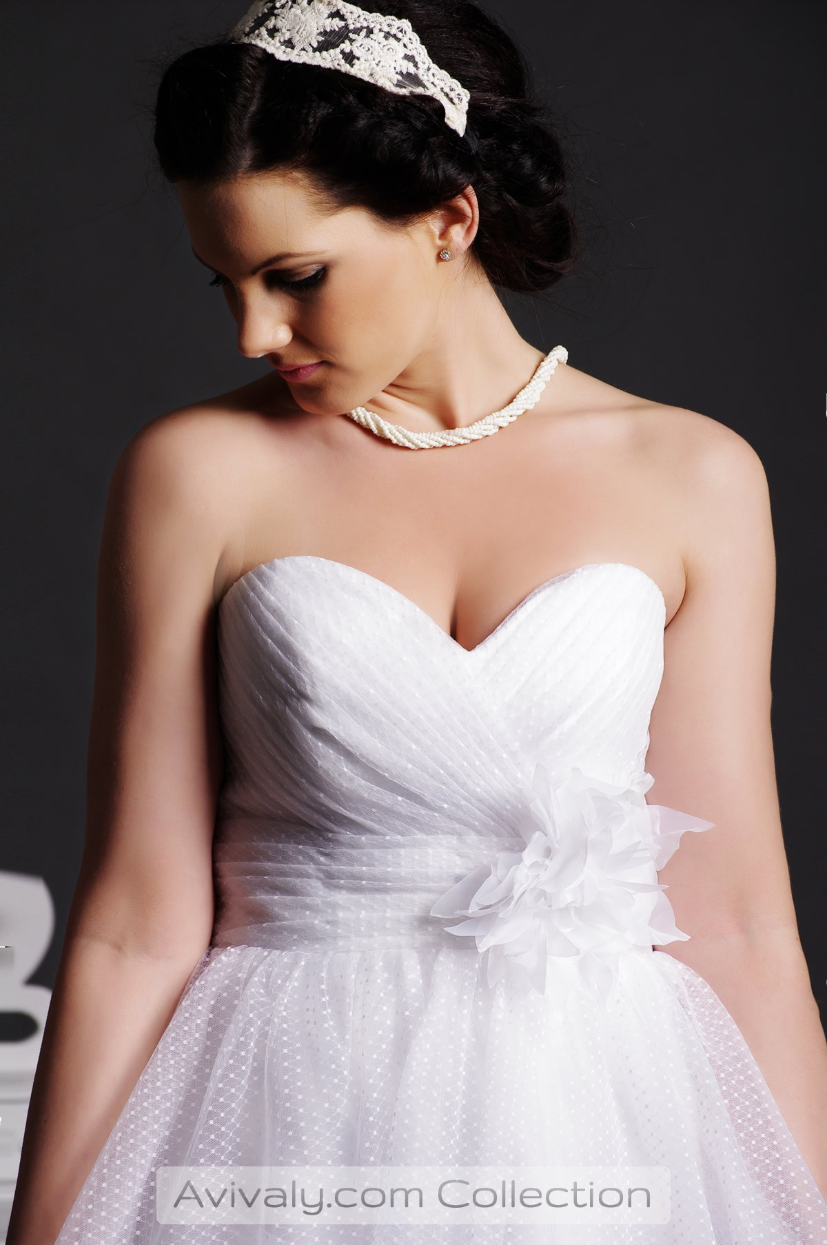 Nicola - A Blooming Flower on Empire Waist of Sweetheart Bodice