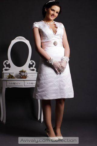 Ruby - Knee Length Bridal Dress Features V-neckline, Cap Sleeves & A-line Skirt