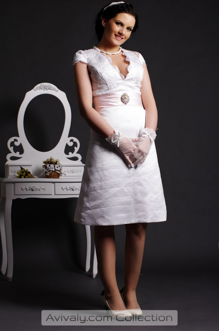Ruby - Knee Length Bridal Dress Features V-neckline, Cap Sleeves & A-line Skirt