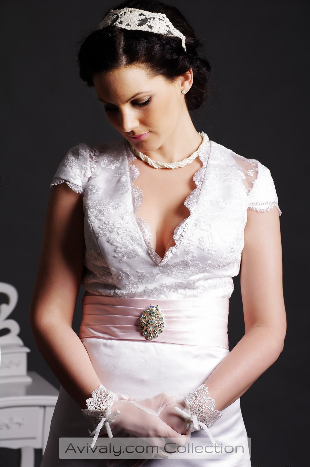Ruby - Folded Pink Sash with Colorfully Beaded Embellishment on Front of Lace Bodice