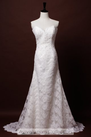 Strapless Sweetheart Lace A-line Dress