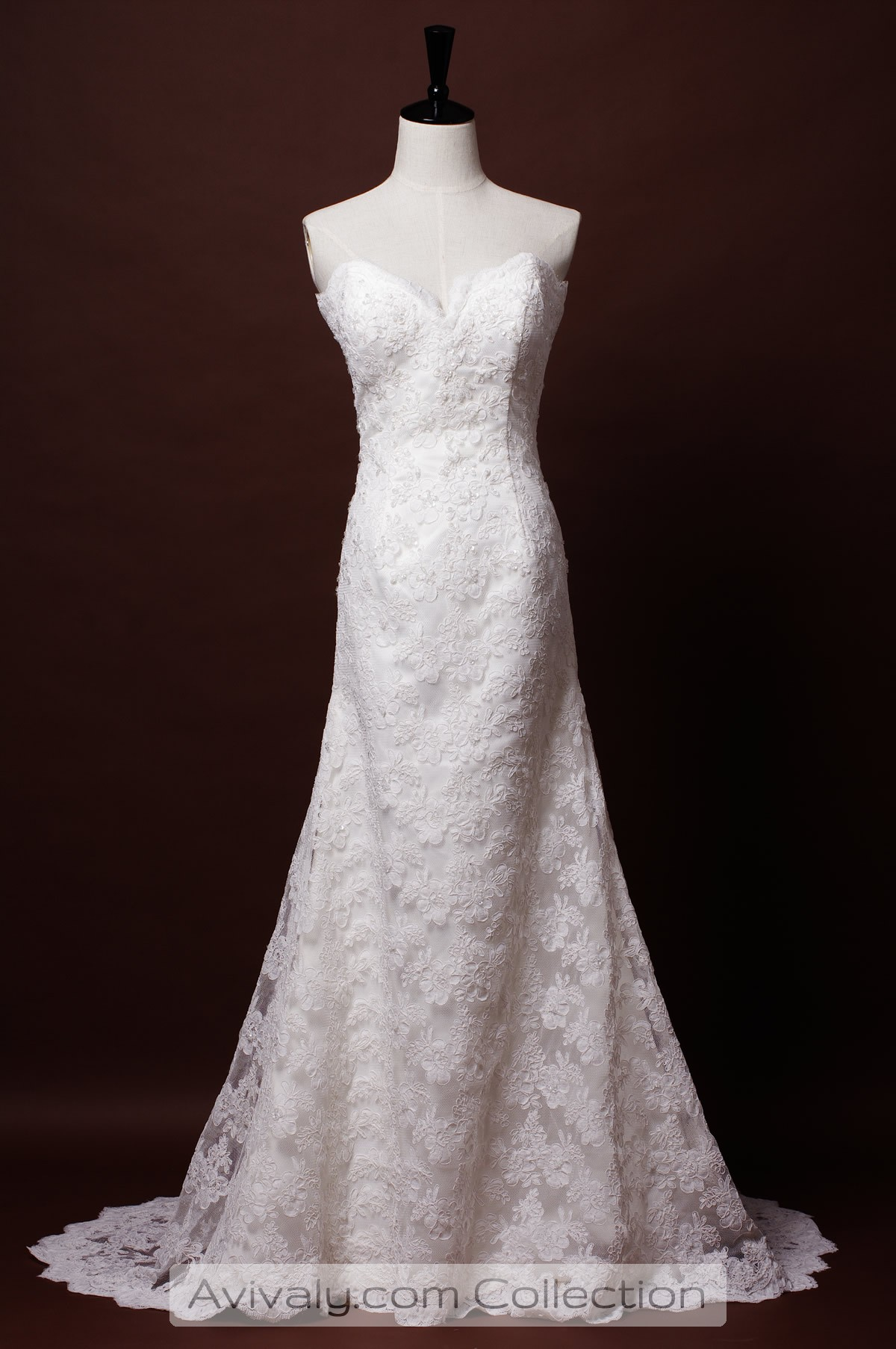 Lydia strapless sweetheart corded lace a line dress for Sweetheart strapless a line wedding dress