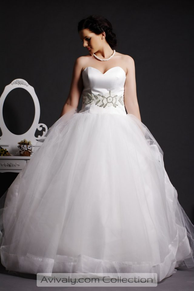 Whity - Strapless Sweetheart Satin Bodice, Layered Tulle Ball Gown Skirt