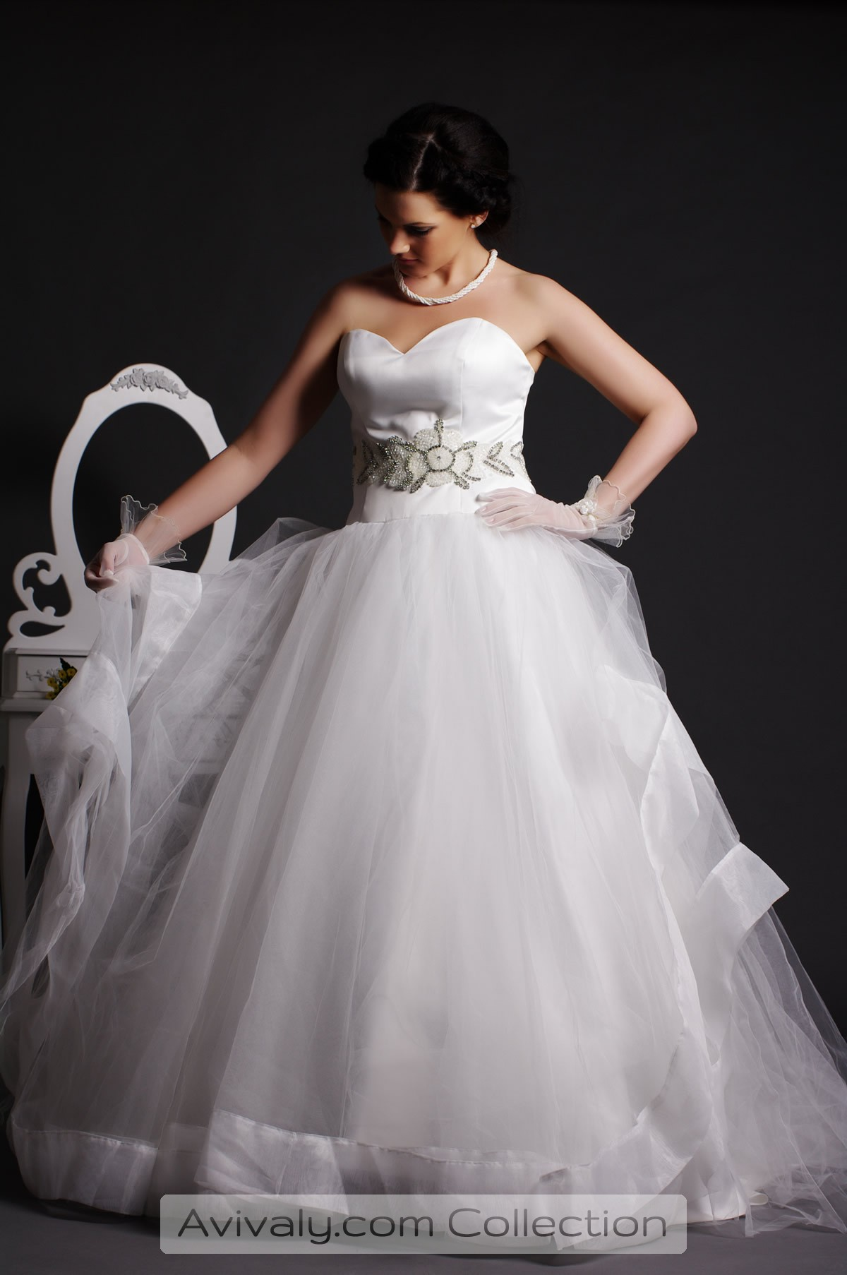 Whity - Tulle Ball Gown Skirt with Organza Hem