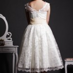 Willow - V-neck Back of Fitted Bodice Flares to Tea Length Skirt