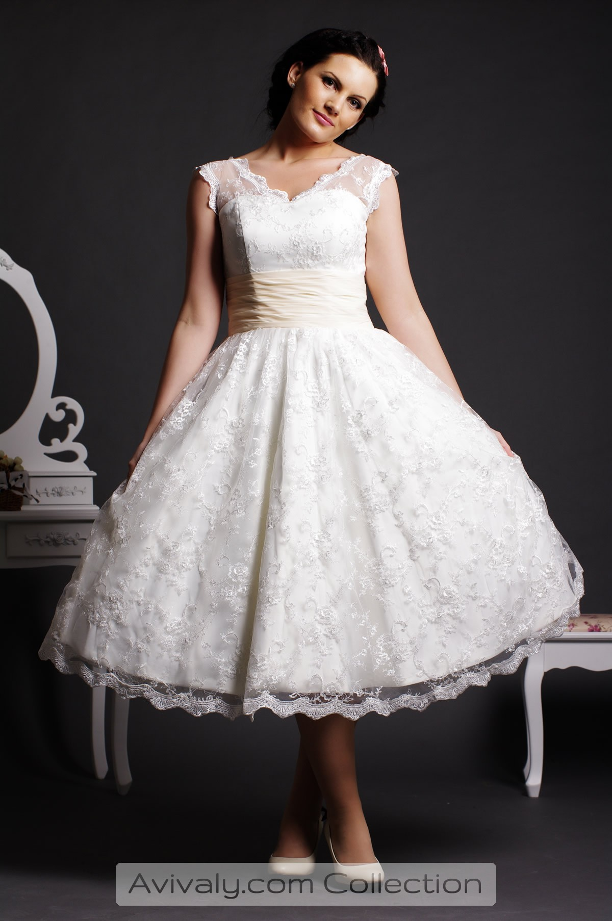 Scalloped Edge Lace Layered Tea Length Ball Gown Avivaly