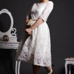 Zaza - Satin Lined Lace Tea Length Wedding Dress