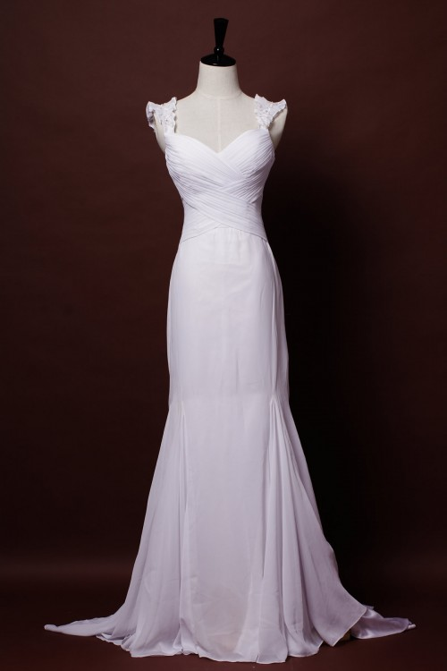 Chiffon Wedding Dress in Floor Length & A-line Silhouette