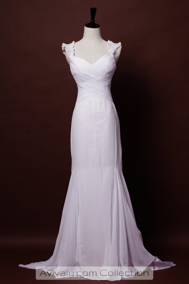 Chiffon Wedding Dress in Floor Length & A-line Silhouette