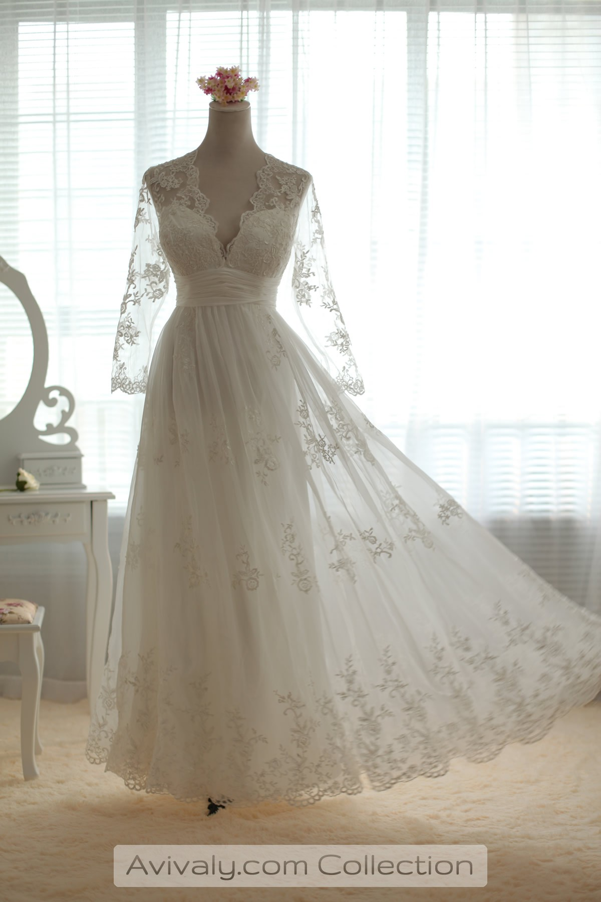 empire waist wedding dresses lilian sheer sleeves floral lace wedding dress 3899