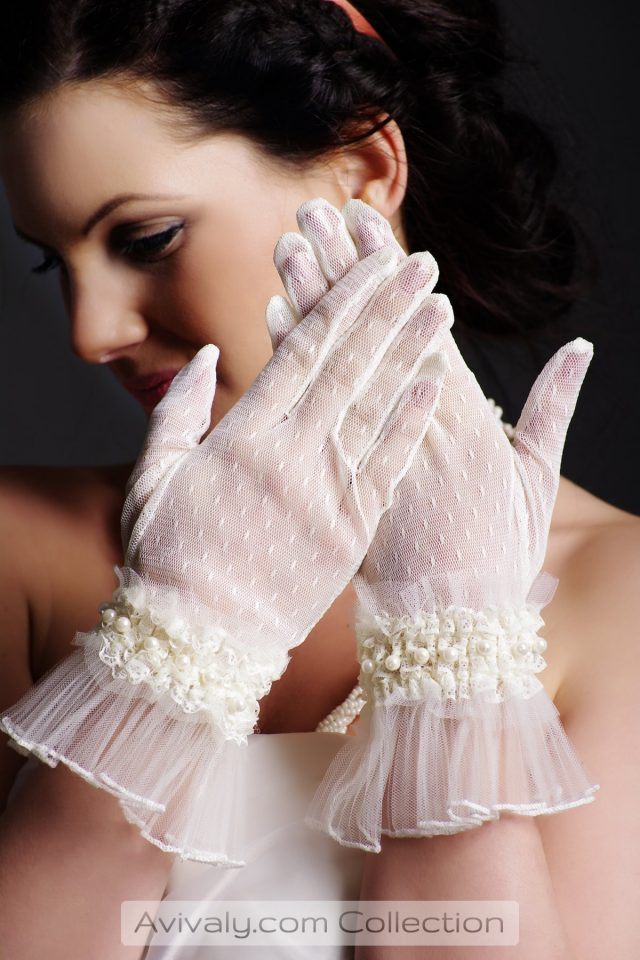 Pearls on Flowers at Pleated Wrist