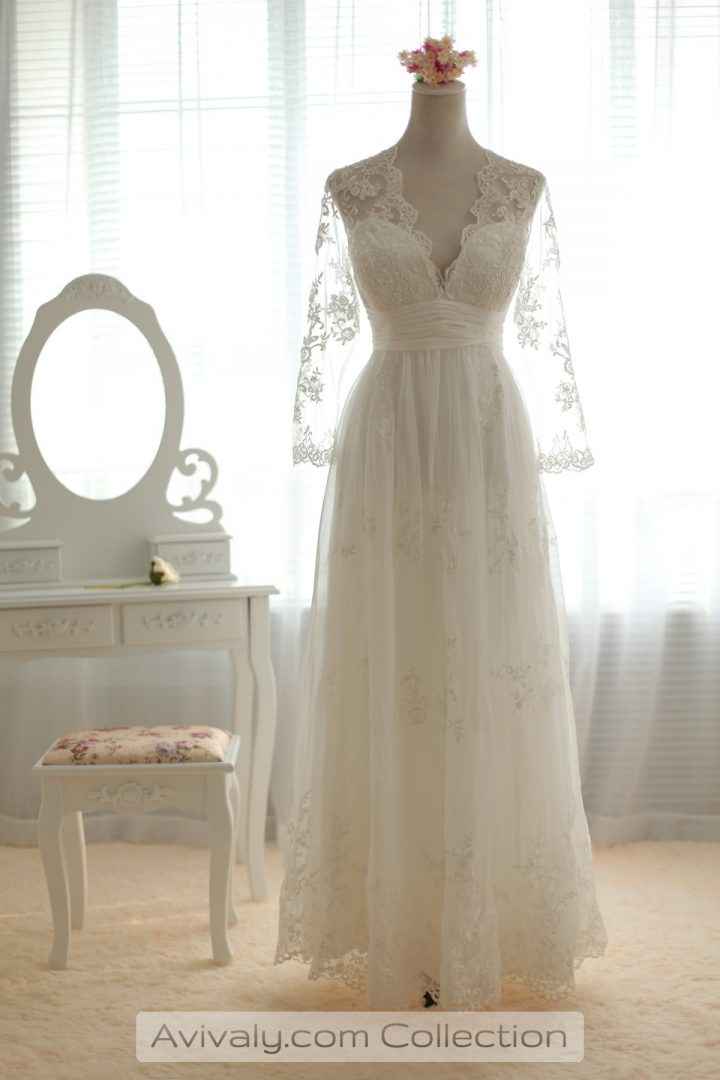 Pleated Full Length Lace Dress