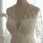 Sheer Bodice with Deep, Scalloped V-neck
