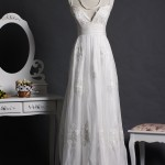 Spaghetti V-neck Floor Length Wedding Dress