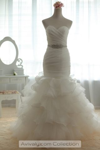 Strapless with Sweetheart Organza Wedding Dress