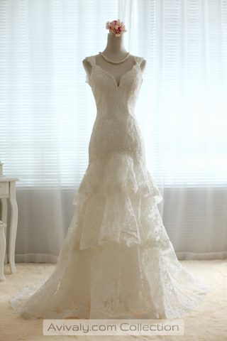 Three Tiered Lace Wedding Dress