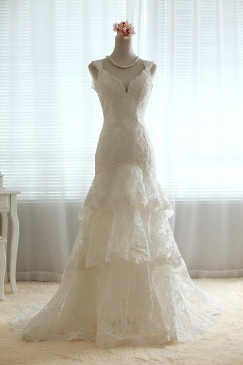 Three Tiered Lace Wedding Dress