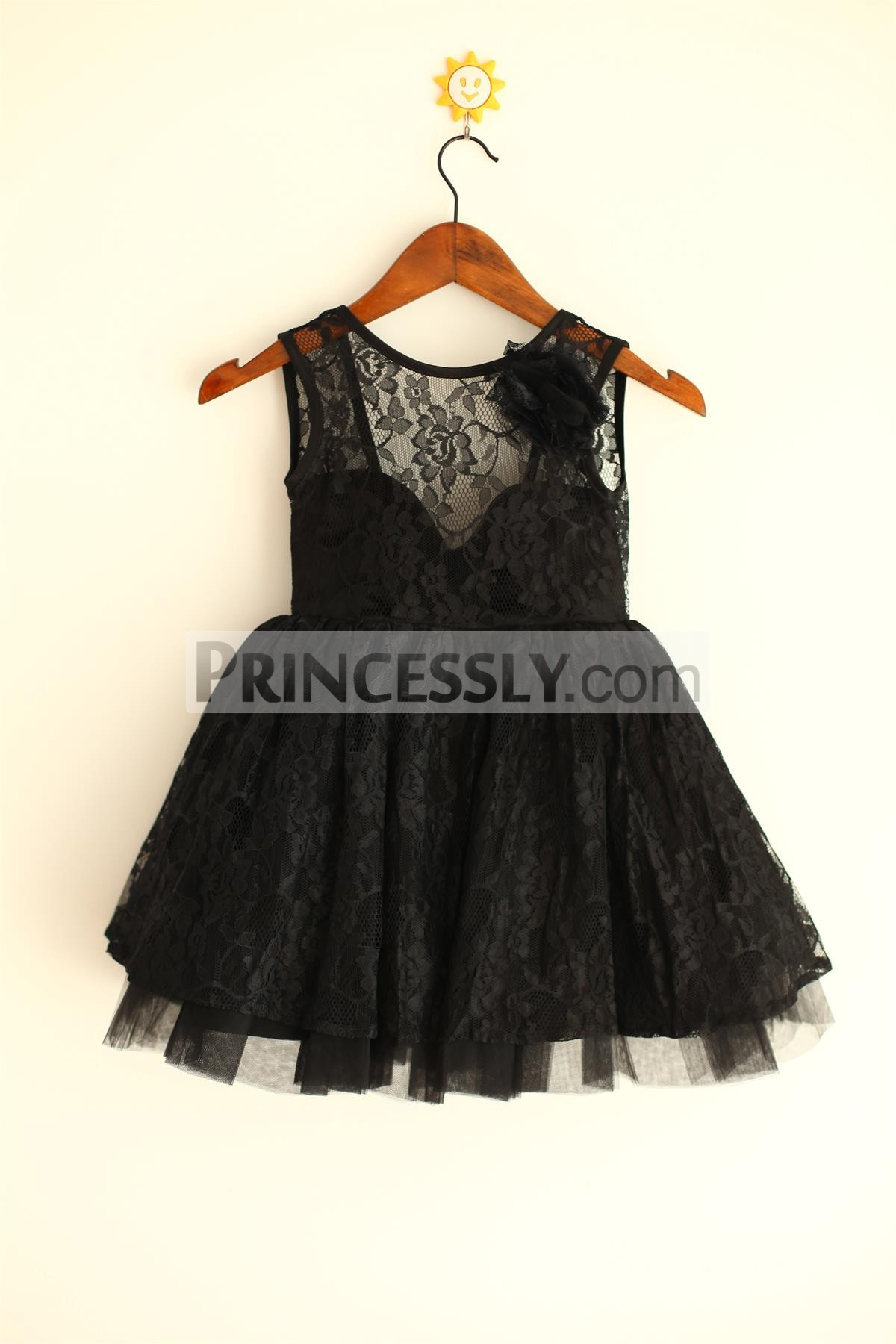 Black Lace Tulle Flower Girl Dress with Deep V Back