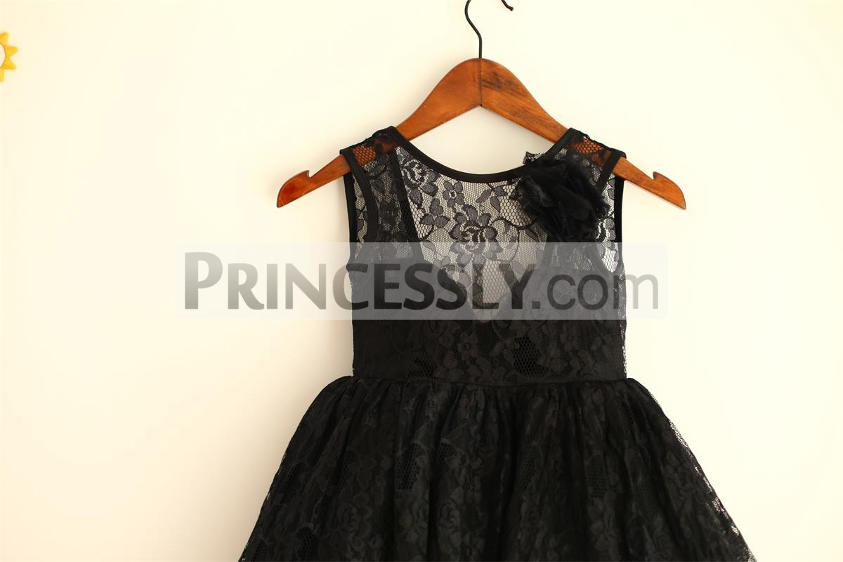 A Flower on Side of Shoulder Illusion Lace Top