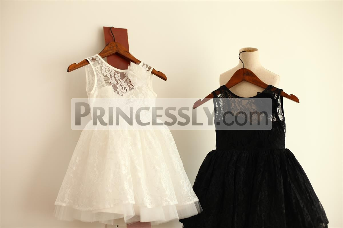 Ivory Black Lace Tulle Flower Girl Dress