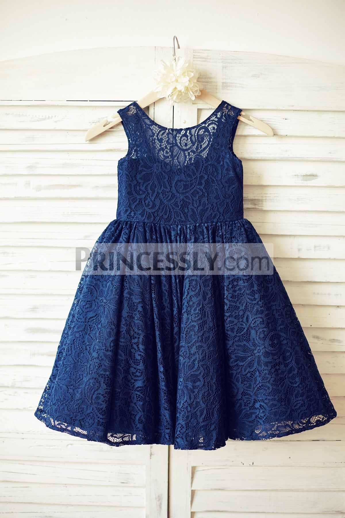 Navy Blue Lace Open V Back Flower Girl Dress with Bow ...