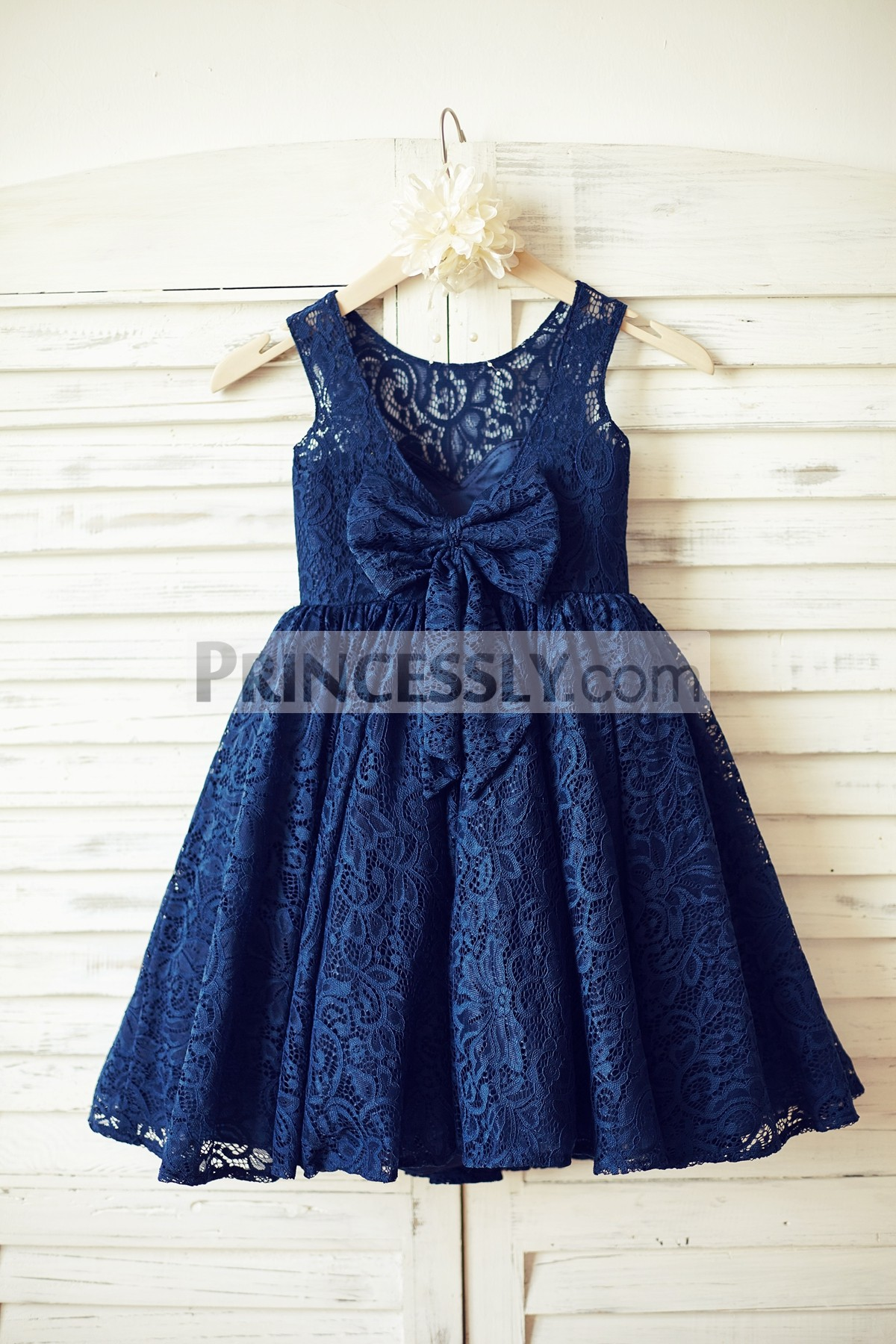 Open V Back Navy Blue Lace Wedding Baby Girl Dress