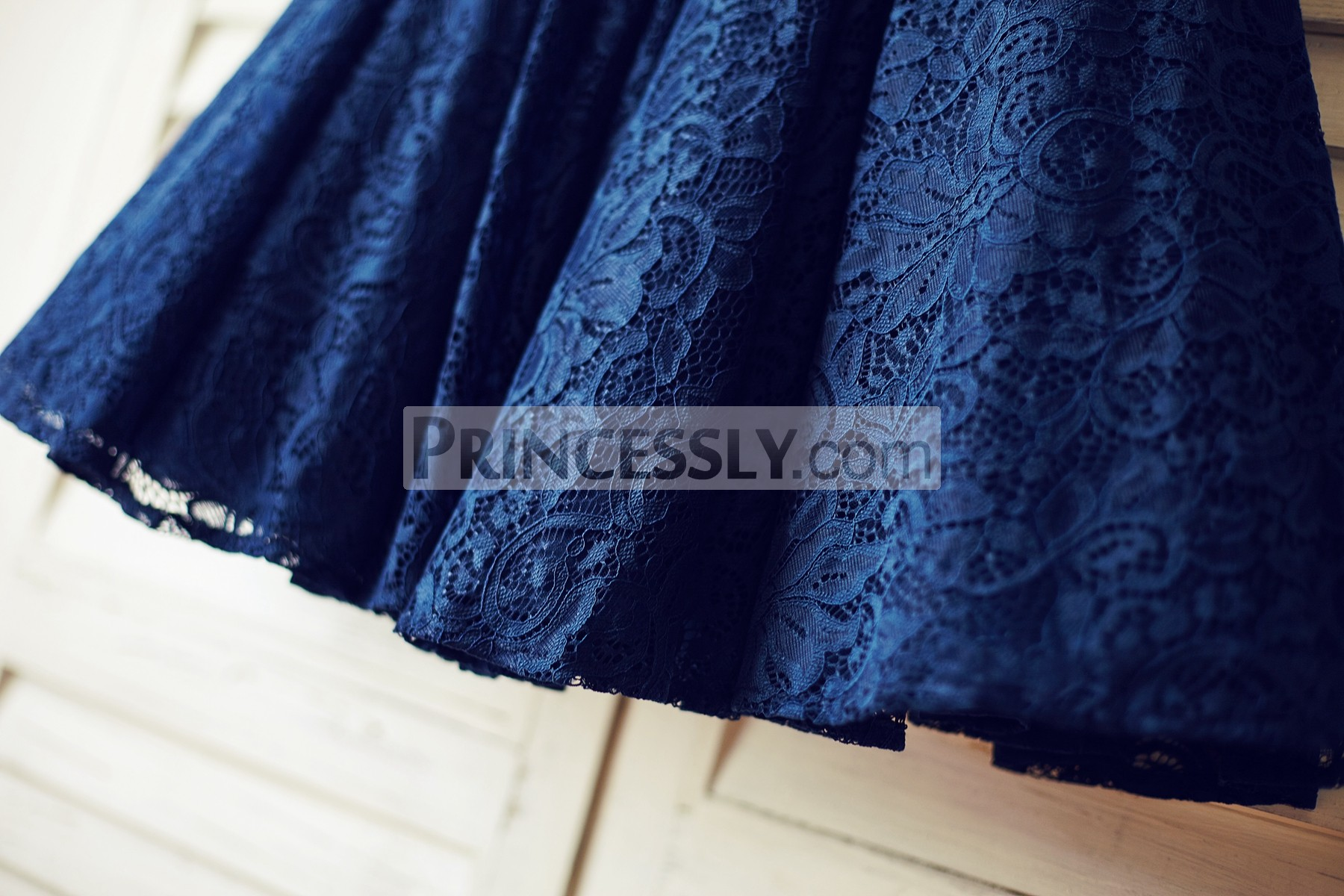 Navy Blue Floral Lace Skirt