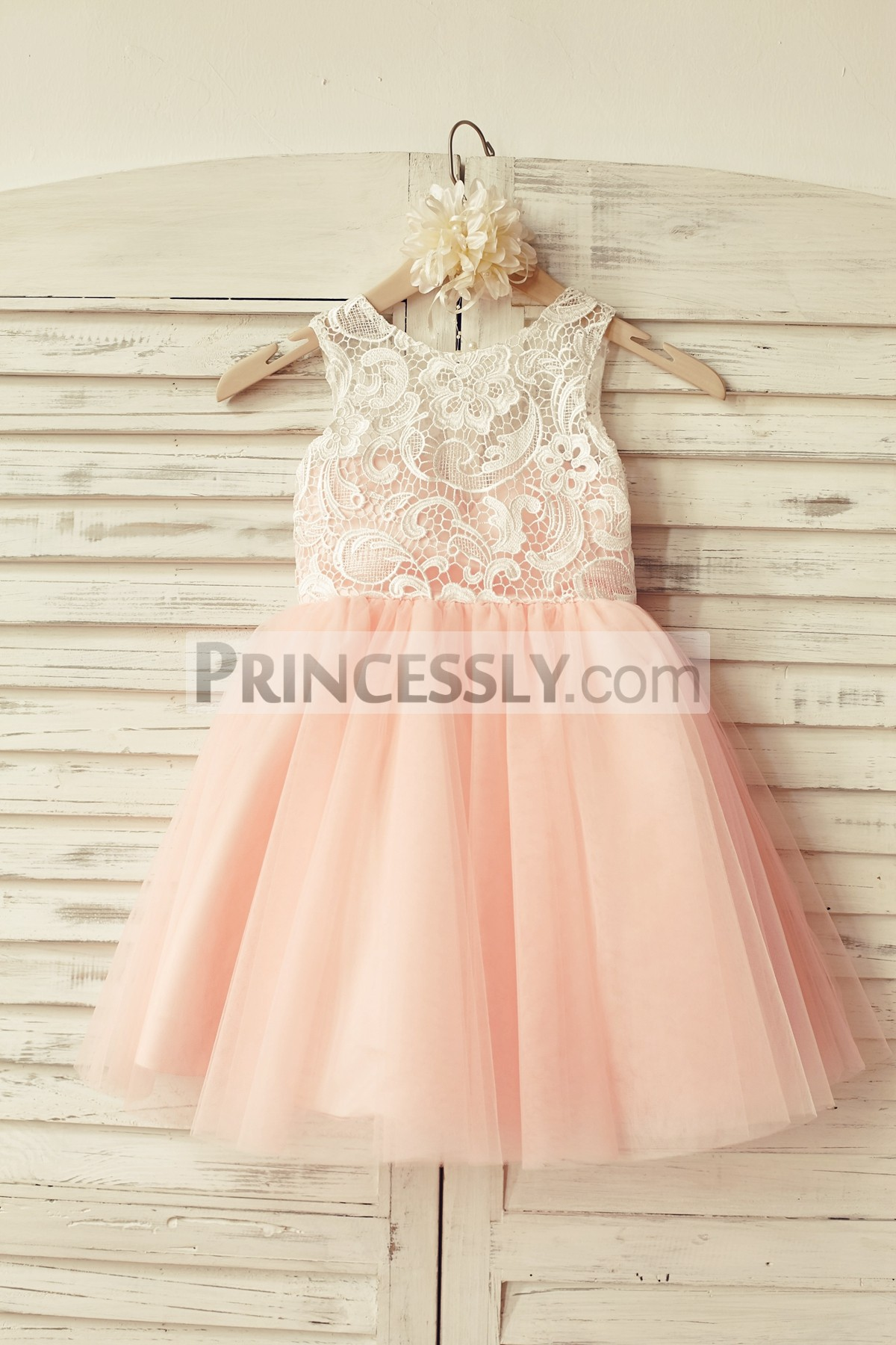 31da7c6754f Ivory Lace Blush Pink Tulle Button Back Wedding Flower Girl Dress ...