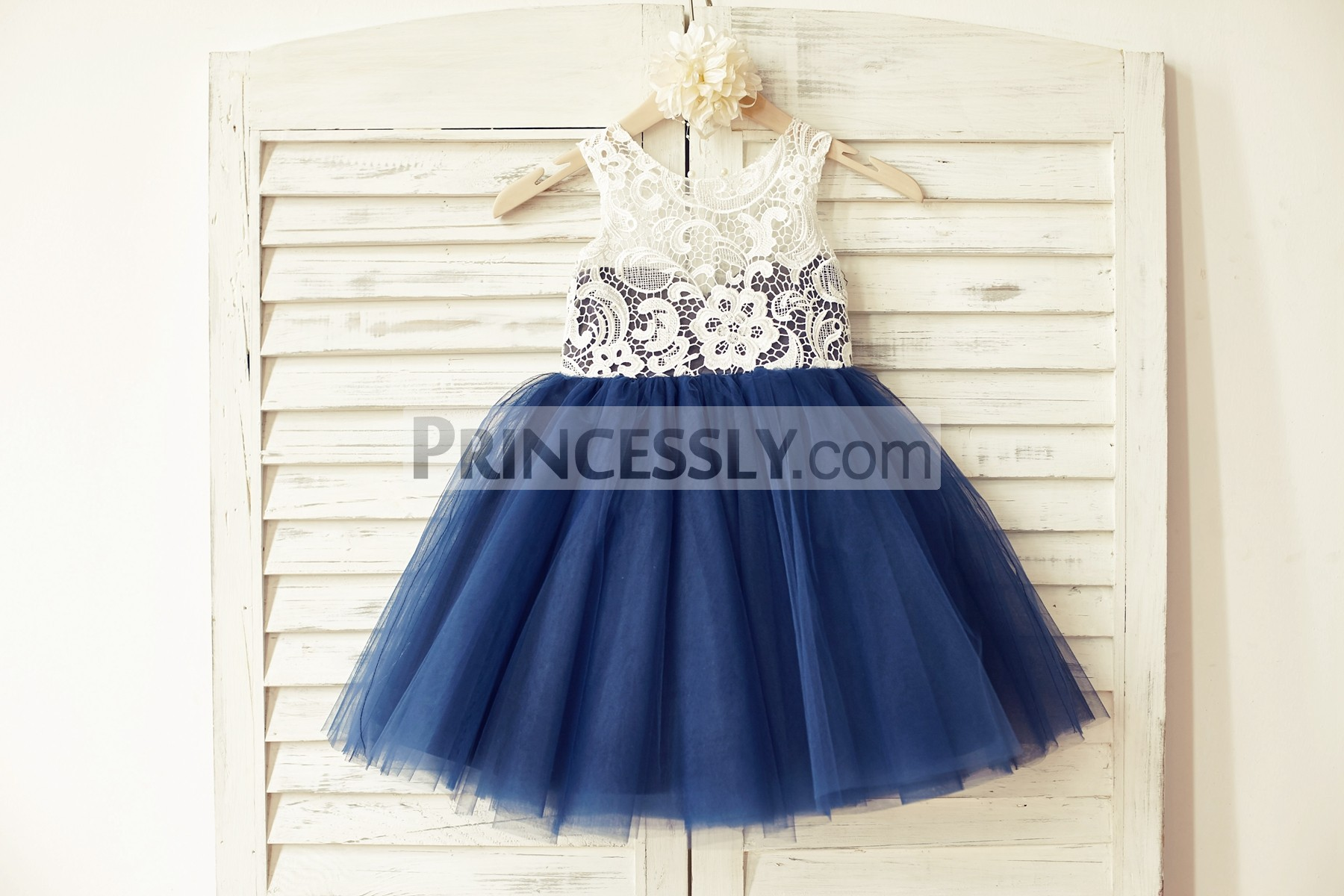 Ivory Lace Navy Blue Baby Girl Dress for Wedding