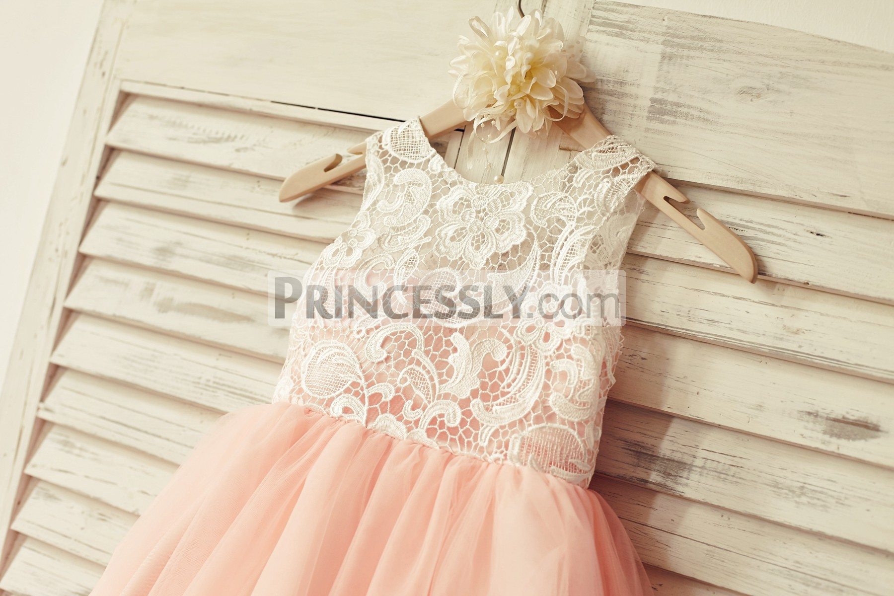 ee3ad562604 Scoop Neckline Sleeveless Design · Blush Pink Tulle Layered and Pleated  Skirt · Ivory Lace Red Tulle Wedding Flower Girl Dress