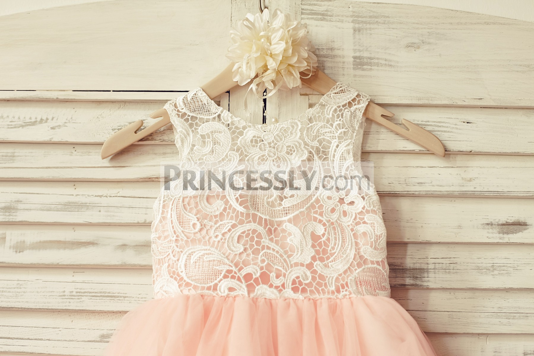 Ivory Lace Blush Pink Tulle Button Back Wedding Flower Girl Dress