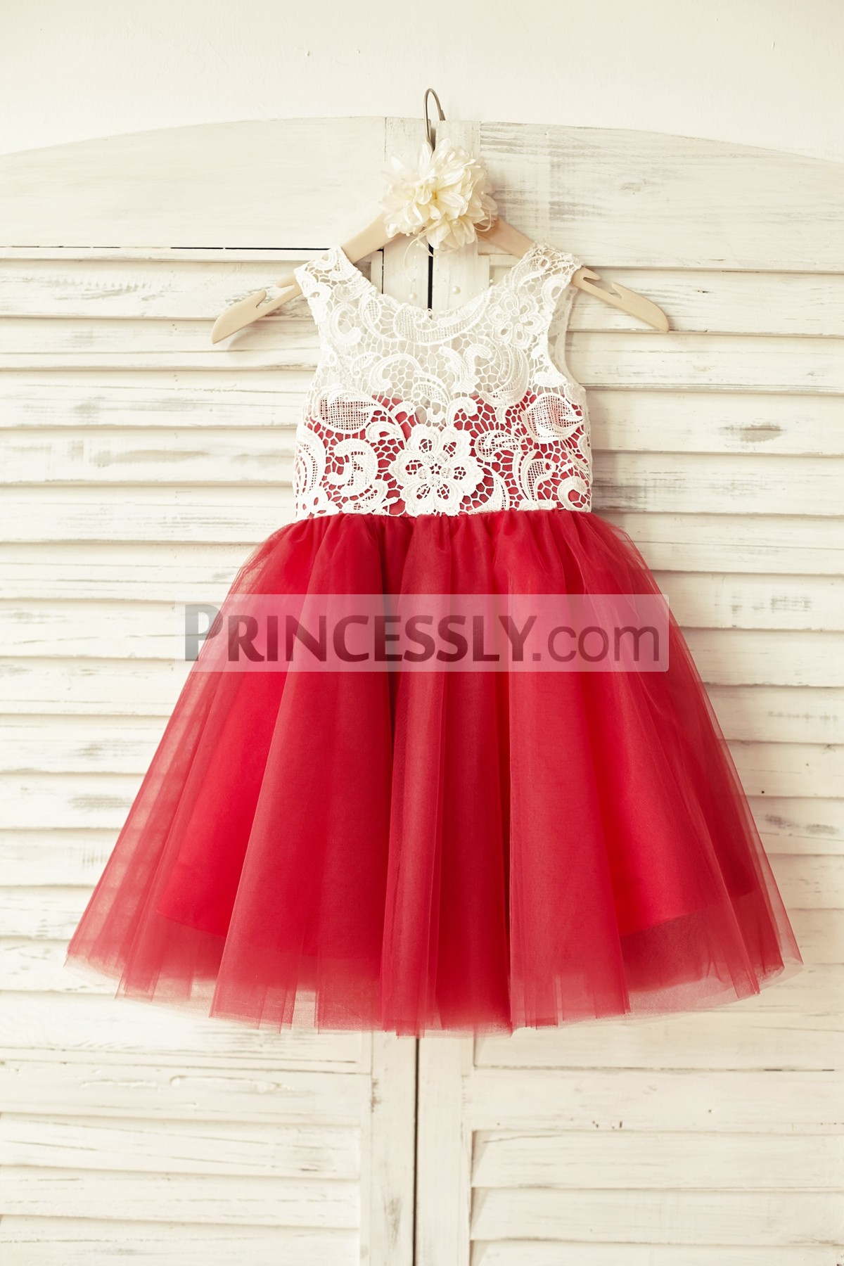 Ivory Lace Red Tulle Wedding Flower Girl Dress