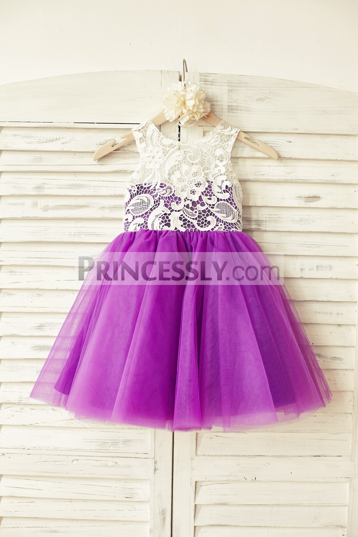 Ivory Lace Purple Tulle Wedding Baby Girl Dress