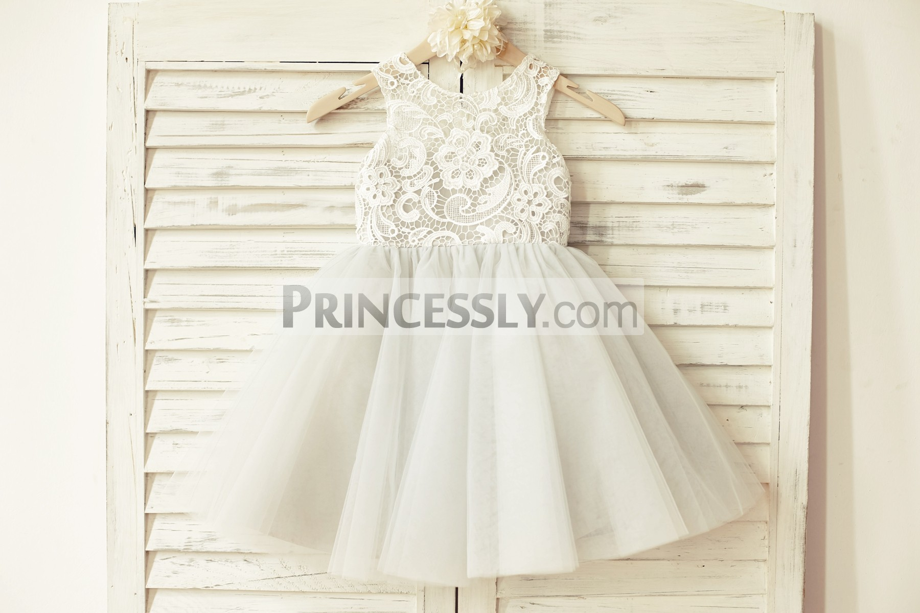 Ivory Lace Grey Tulle Wedding Toddler Flower Girl Dress