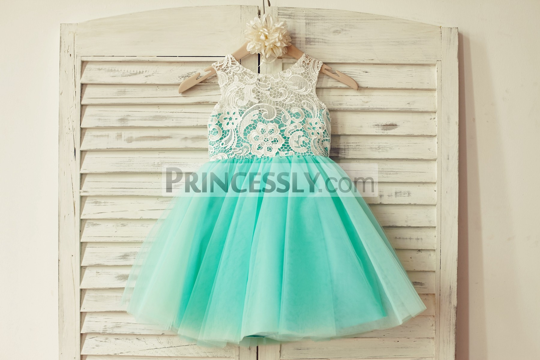 Ivory Lace Mint Green Tulle Wedding Little Girl Dress